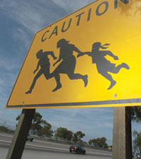 Illegal immigrant sign on highway