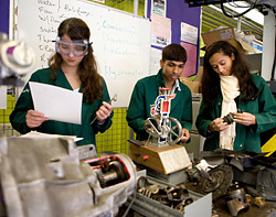 Students in an auto shop